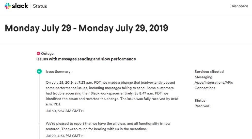 Slack Outage july 29