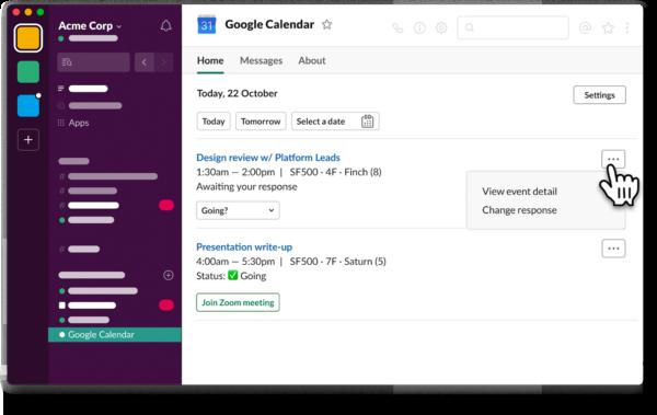 Slack outlook calendar integration