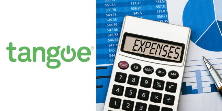 Tangoe logo alongside calculator sitting atop pie charts and graphs