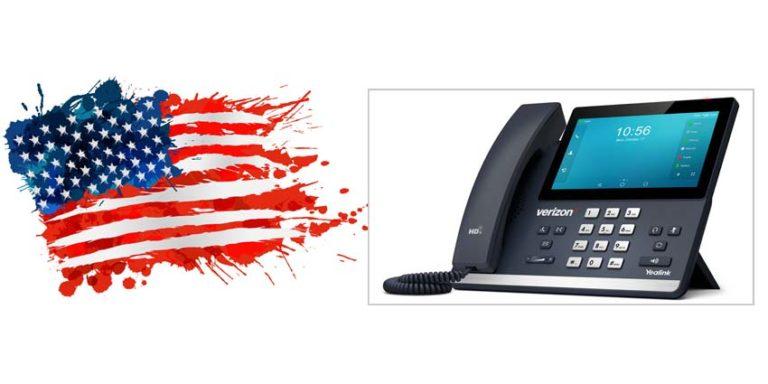 Splotty US falg alongside picture of new Verizon desk phone